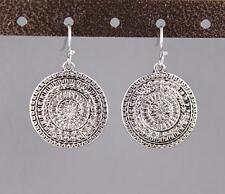 "antiqued silver earrings medallion coin dangle drop 1.25"" long lightweight"