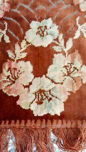 "Italian Velvet Table Runner w/ Florals Victorian Era 45""x11""."
