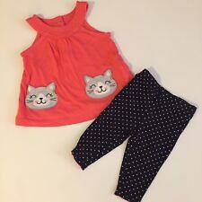 Carter's kitty dress Top Pink 3m Baby Girl black polka dot pants, 3 months