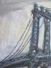 Paul McCarron Signed 1968 Vintage Oil Pastel Bridge Art Institute of Chicago NYC