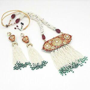 Indian Pakistani Wedding Bridal Gold Kundan Pearl Choker Rani Haar Necklace Sets