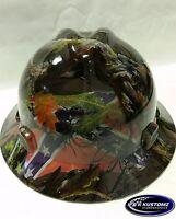 1Southern Comfort Camo New Custom MSA V-Gard Hyrdo dipped Full Brim Hard Hat