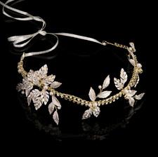 Crystal Pearl Golden Leaf Charm Bridal Princess Crown Headband Hair Accessories