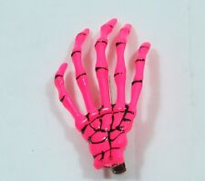 Pair of Skeleton Hand Hair Clip Hot PINK Halloween Costume Spooky Creepy