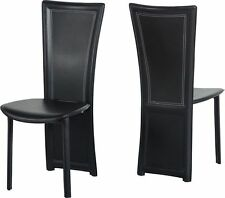 4x Seconique Cameo Dining Chairs - Black Faux Leather