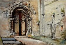 Nice watercolor painting architecture c.1900s