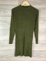 ATMOSPHERE KHAKI GREEN LONG SLEEVE HIGH NECK MINI MIDI JUMPER DRESS UK 16 10041