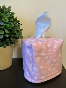 New Fabric Tissue Box Cover Decor - Pink Floral Baby Nursery - Handmade