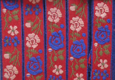 Embroidered Cotton trim Red background with blue edging Blue Pink flowers 25 mtr
