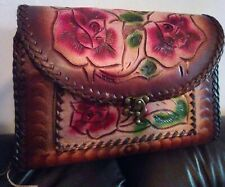 100% new genuine mexican cowhide leather Hand Tooled, embroidered Purse vintage