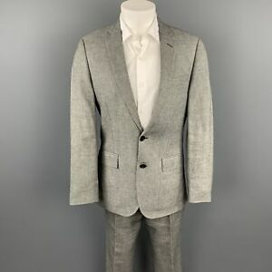 J. CREW Ludlow Size 38 Regular Grey Nailhead Linen / Cotton Notch Lapel Suit