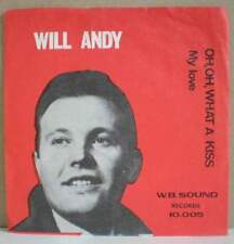 """WILL ANDY Oh, oh what a kiss (LISTEN) RARE 7"""" 1966 pop BELGIUM PS"""