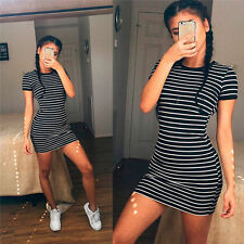Women Summer Bodycon Black Striped Short Sleeve Slim Mini Dress Tops Beach skirt
