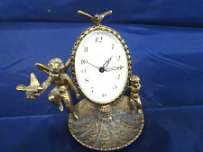 Vintage GLOBE Wind Up Alarm Clock West Germany Guilded Brass Angels