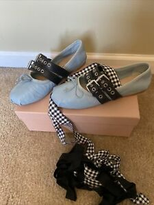 Miu Miu Leather Ballerinas With Belts Lace Up Ballet Flats 37.5