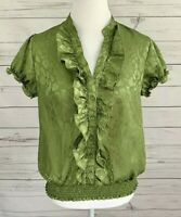 IZ Byer Top Womens XL Green Leopard Print V-Neck Button Short Sleeve Blouse