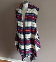 Sam Edelman Women's S Elsie Long Blanket Vest Boho Winter Striped Acrylic Fringe