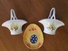 Lot of Vintage Easter Porcelain Pair Bunny Baskets and Chicken Dish