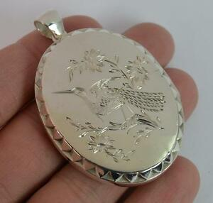Victorian Aesthetic Movement Large Solid Silver Locket Pendant of Bird Design