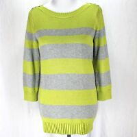 Banana Republic Sweater Sz M Lime Green Gray Stripe 3/4 Sleeve Pullover Tunic