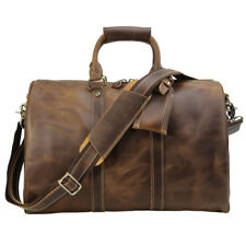 Mens Real Leather Travel Luggage Garment Duffle Gym Bags Messenger Shoulder Tote