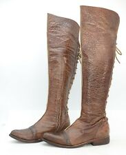 Victorian USA Womens Sz 8 Rugged Leather Laced Zip Riding Over the Knee Boots