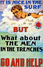 Australian War Propaganda, Body Surfing Art, Museum Poster, Canvas Print