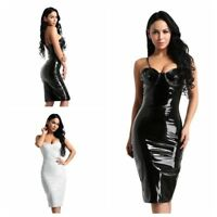 Womens Wet Look Pencil Mini Dress Cocktail Party Evening Stretch Bodycon Skirts