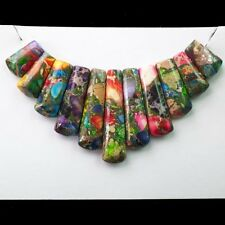 Beautiful Rainbow Sea Sediment Jasper & Pyrite Pendant Bead 11Pcs/Set E0000557