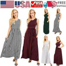 US Women Striped Sleeveless Long Dress Waist Casual Beach Sundress Party Dresses