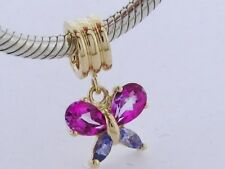 9ct Solid Gold Natural Tanzanite & Pink Topaz Butterfly Drop Dangle Bead Charm