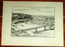Aussig Elbe Ústí nad Labem: großform. Tafel Druck 1920 Städteansicht Schlesien