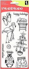 Inkadinkado Clear Stamps - Warmest Wishes - Christmas Beach Chair, Flamingo Tree