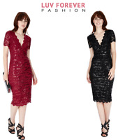 Goddiva Sequin Lace Midi Knee-Length Cocktail Prom Eve Formal Party Dress