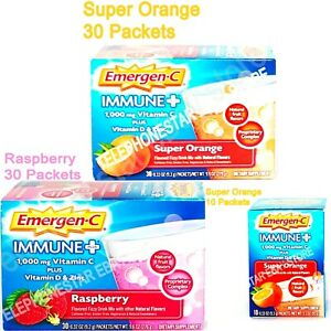 Emergen-C Immune+ 1000mg Vitamin C Powder Vitamin D Zinc Super Orange /Raspberry