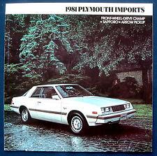 Prospectus brochure 1981 PLYMOUTH Champion * Sapporo * Arrow Pickup (USA)