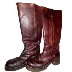 Black Label Frye, 8190, Women's Sz: 8.5 B, Burgandy Leather Campus Riding Boots