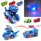 Kids Transforming Dinosaur LED Car T-Rex Toys With Light Sound Boys Toy Gift