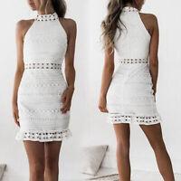 Women Lace Dress Summer Sleeveless Bodycon Dresses Stand Neck Short Mini Dress
