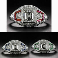 Fashion 925 Silver White Topaz&Ruby&Emerald Engagement Wedding Band Ring Jewelry