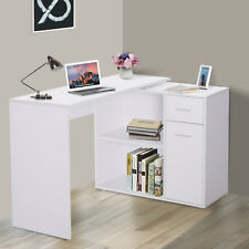 HOMCOM Corner Computer Desk 360° Rotating L-Shaped Table Storage Shelf White