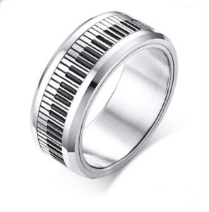 Men's Ring Piano Key Stainless Steel Jewelry Spinner Musician Gift Size 9