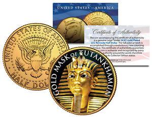 GOLD MASK OF TUTANKHAMUN 24K Gold Plated JFK Half Dollar US Coin KING TUT DEATH