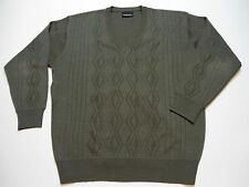 Gabicci V Neck Jumper Long Sleeve Sweater Mens Size XL Wool Blend Brown NICE!