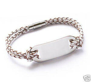 Leather Steel Bracelet with Engraved ID plate, Father's day Gift