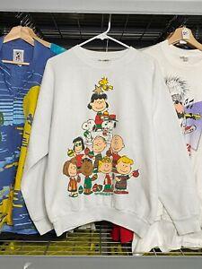 Mens Large Peanuts Charlie Brown Christmas Tree White Crewneck Sweater VTG Xmas