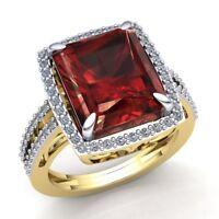 Natural 7.5ct Octagon Garnet Diamond Bridal Cocktail Engagement Ring 10k Gold
