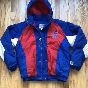 Men's Vintage 90's Starter Buffalo Bills Blue Red White Puffer Puffy Jacket Sz M