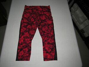 "Lululemon Women's Red Black Floral Yoga Capri Pants Size 10 Waist 29""-31"""