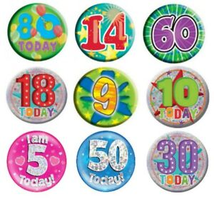 Birthday Party Badge  Milestone Ages Male Female Boy Girl Pink Blue - 14 80 9